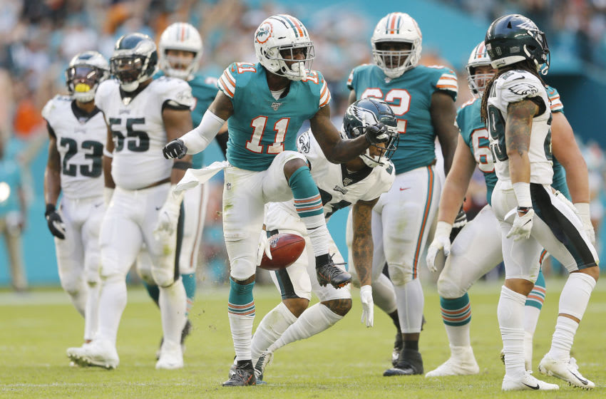 MIAMI, FLORIDA - DECEMBER 01: DeVante Parker #11 of the Miami Dolphins reacts against the Philadelphia Eagles during the fourth quarter at Hard Rock Stadium on December 01, 2019 in Miami, Florida. (Photo by Michael Reaves/Getty Images)