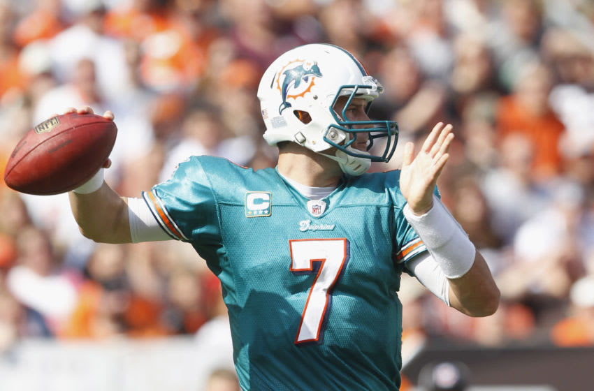 CLEVELAND, OH - SEPTEMBER 25: Quarterback Chad Henne #7 of the Miami Dolphins looks for a receiver against the Cleveland Browns at Cleveland Browns Stadium on September 25, 2011 in Cleveland, Ohio. (Photo by Matt Sullivan/Getty Images)