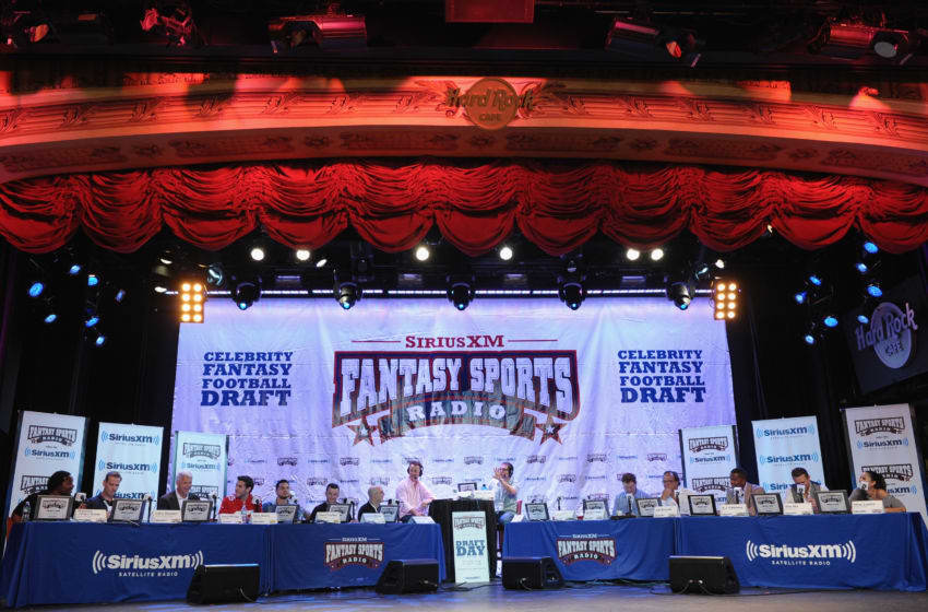 NEW YORK, NY - JULY 17: General view of the panel for the SiriusXM Celebrity Fantasy Football Draft at Hard Rock Cafe - Times Square on July 17, 2013 in New York City. (Photo by Michael Loccisano/Getty Imagesfor SiriusXM)
