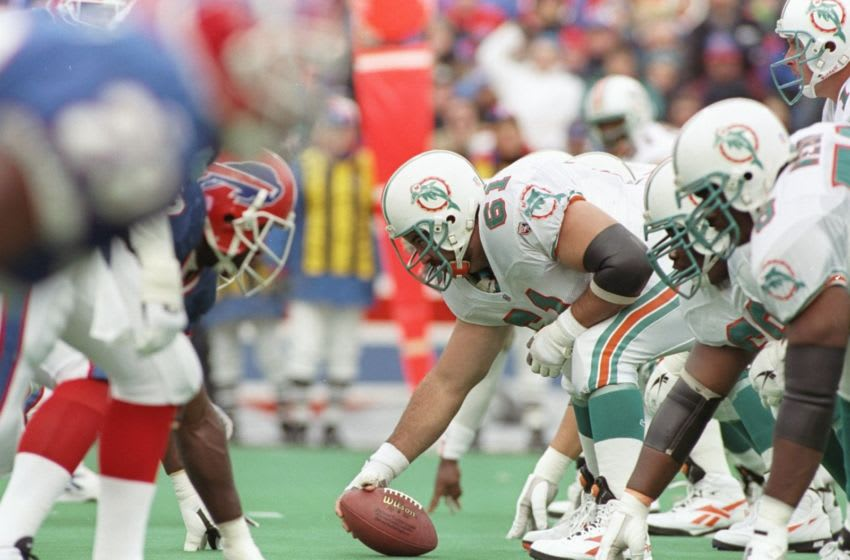 17 Dec 1995: Center Tim Ruddy of the Miami Dolphins waits for the signal to snap the ball during a game against the Buffalo Bills at Rich Stadium in Orchard Park, New York. The Bills won the game 37-22. Mandatory Credit: Rick Stewart /Allsport