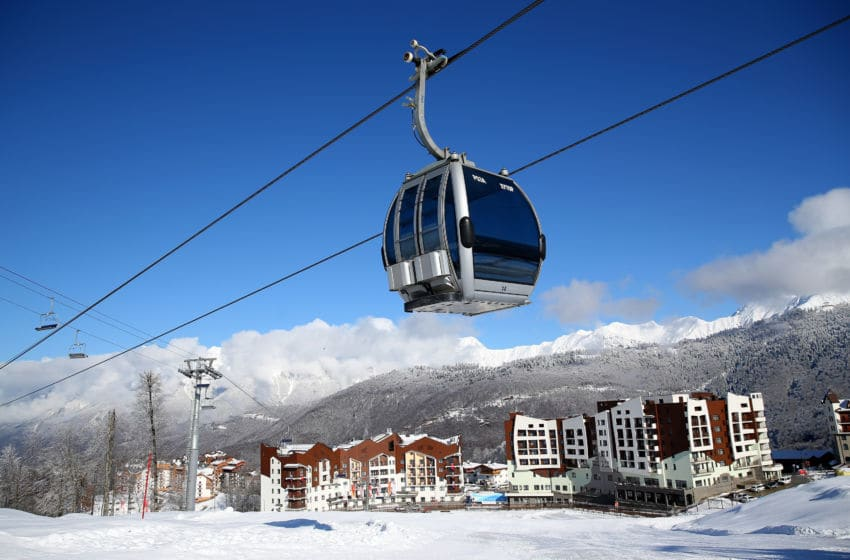 SOCHI, RUSSIA - FEBRUARY 01: A gondola passes over the alpine Olympic athletes village at Rosa Khutor Mountain is seen ahead of the Sochi 2014 Winter Olympics on February 1, 2014 in Sochi, Russia (Photo by Clive Rose/Getty Images)