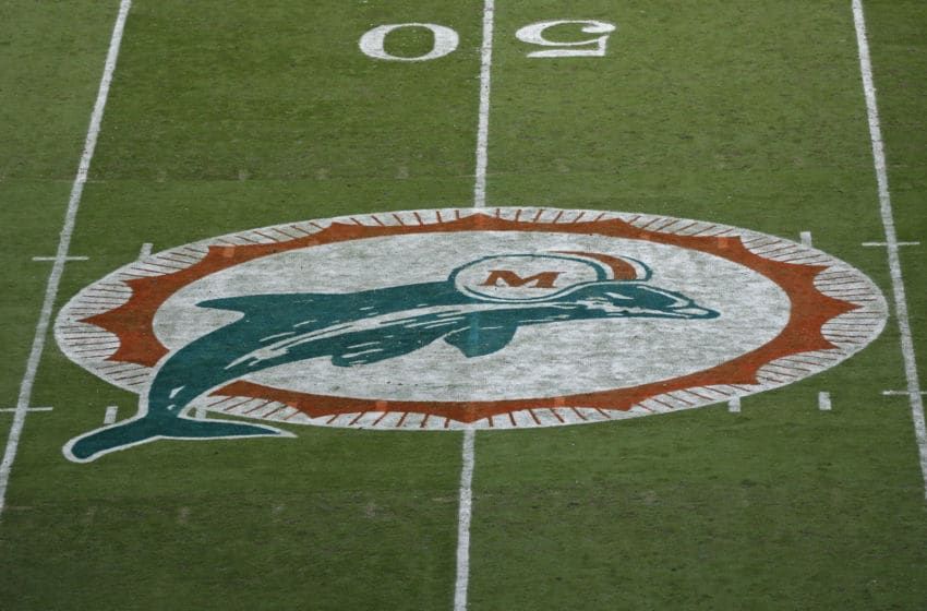MIAMI GARDENS, FL - OCTOBER 23: The Miami Dolphins wore throwback jerseys and pointed their original logo at midfield for the game against the Buffalo Bills on October 23, 2016 at Hard Rock Stadium in Miami Gardens, Florida. Miami defeated Buffalo 28-25. (Photo by Joel Auerbach/Getty Images)