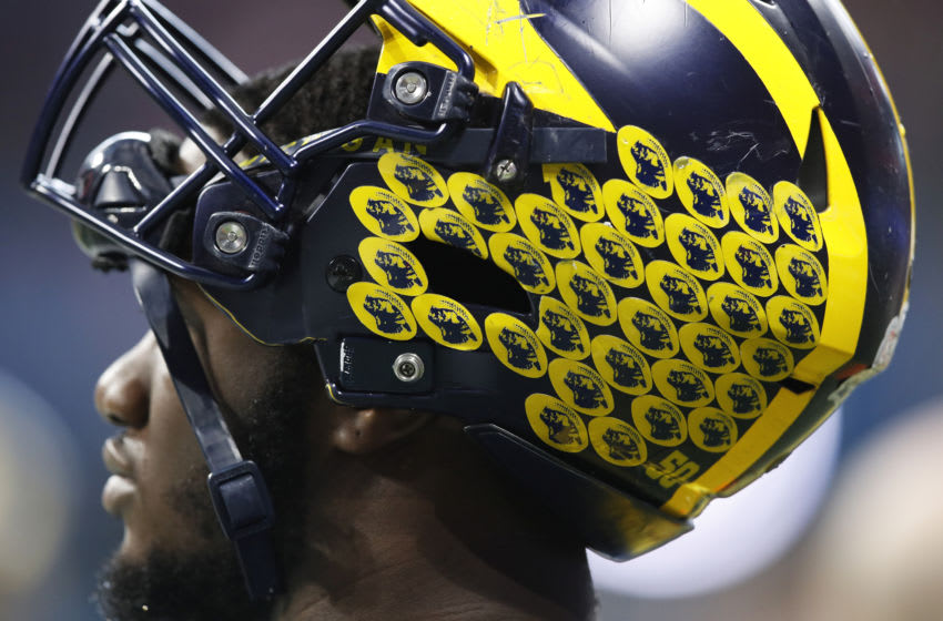 ATLANTA, GA - DECEMBER 29: Detailed view of Michigan Wolverines helmet during the Chick-fil-A Peach Bowl against the Florida Gators at Mercedes-Benz Stadium on December 29, 2018 in Atlanta, Georgia. Florida won 41-15. (Photo by Joe Robbins/Getty Images)