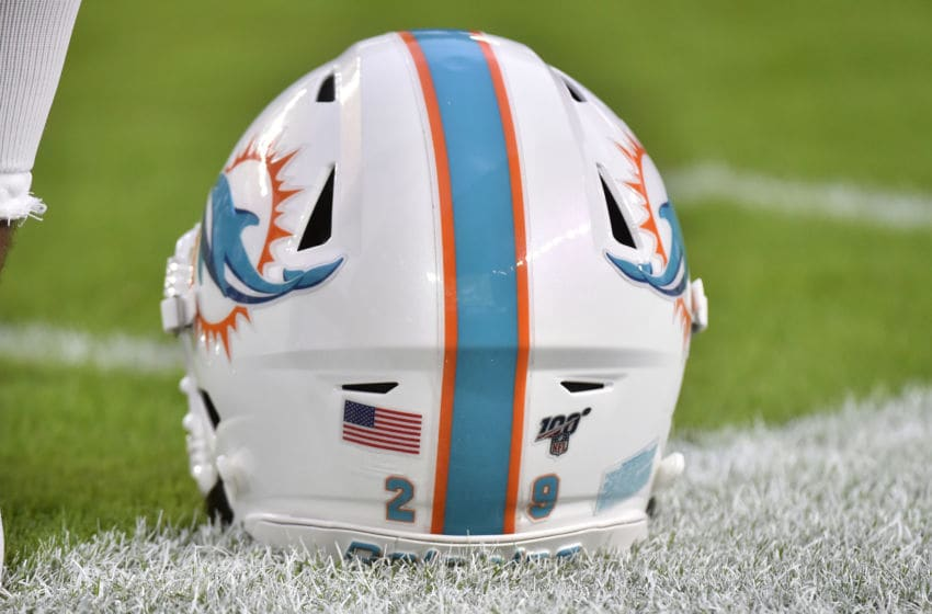 MIAMI, FL - AUGUST 22: A detailed view of Minkah Fitzpatrick #29 of the Miami Dolphins helmet with the 100 NFL seasons logo on the back before the start of a preseason game against the Jacksonville Jaguars at Hard Rock Stadium on August 22, 2019 in Miami, Florida. (Photo by Eric Espada/Getty Images)
