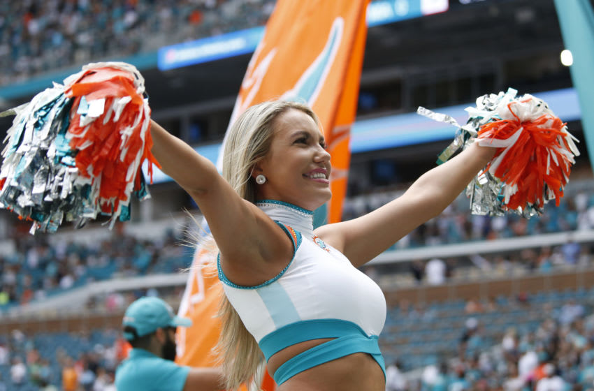 MIAMI GARDENS, FL - NOVEMBER 3: A Miami Dolphins cheerleader performs prior to the NFL game against the New York Jets on November 3, 2019 at Hard Rock Stadium in Miami Gardens, Florida. The Dolphins defeated the Jets 26-18. (Photo by Joel Auerbach/Getty Images)