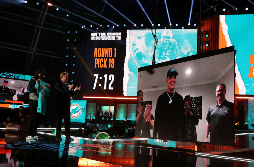 CLEVELAND, OHIO - APRIL 29: NFL Commissioner Roger Goodell announces Jaelan Phillips as the 18th selection by the Miami Dolphins during round one of the 2021 NFL Draft at the Great Lakes Science Center on April 29, 2021 in Cleveland, Ohio. (Photo by Gregory Shamus/Getty Images)