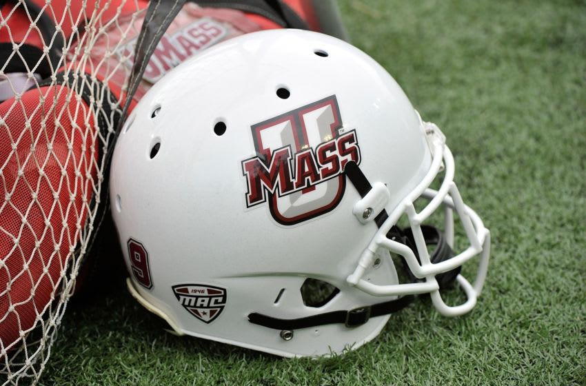NASHVILLE, TN - SEPTEMBER 13: A helmet of the University of Massachusetts Minutemen rests on the sideline during a game against the Vanderbilt Commodores at Vanderbilt Stadium on September 13, 2014 in Nashville, Tennessee. (Photo by Frederick Breedon/Getty Images)