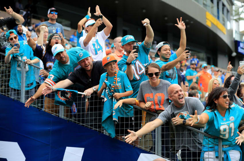CARSON, CA - SEPTEMBER 17: Miami Dolphins fans cheer during the first half of a game against the Los Angeles Chargers at StubHub Center on September 17, 2017 in Carson, California. (Photo by Sean M. Haffey/Getty Images)