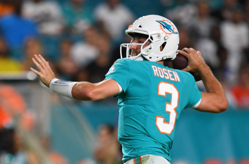 MIAMI, FL - AUGUST 22: Josh Rosen #3 of the Miami Dolphins looks to pass in the fourth quarter during the preseason game against the Jacksonville Jaguars at Hard Rock Stadium on August 22, 2019 in Miami, Florida. (Photo by Mark Brown/Getty Images)