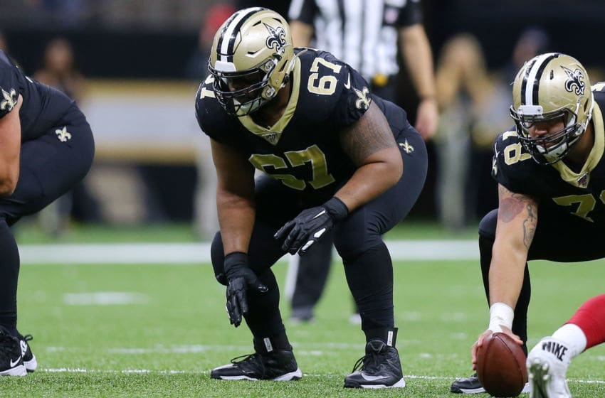 NEW ORLEANS, LOUISIANA - OCTOBER 27: Larry Warford #67 of the New Orleans Saints in action during a game against the Arizona Cardinals at the Mercedes Benz Superdome on October 27, 2019 in New Orleans, Louisiana. (Photo by Jonathan Bachman/Getty Images)