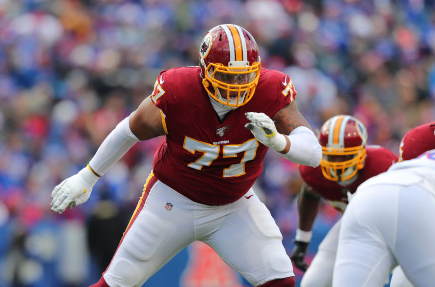 ORCHARD PARK, NY - NOVEMBER 03: Ereck Flowers #77 of the Washington Redskins looks to make a block during a game against the Buffalo Bills at New Era Field on November 3, 2019 in Orchard Park, New York. Buffalo beats Washington 24 to 9. (Photo by Timothy T Ludwig/Getty Images)
