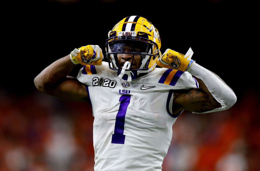 NEW ORLEANS, LOUISIANA - JANUARY 13: Ja'Marr Chase #1 of the LSU Tigers reacts after a catch against the Clemson Tigers in the College Football Playoff National Championship game at Mercedes Benz Superdome on January 13, 2020 in New Orleans, Louisiana. (Photo by Jonathan Bachman/Getty Images)