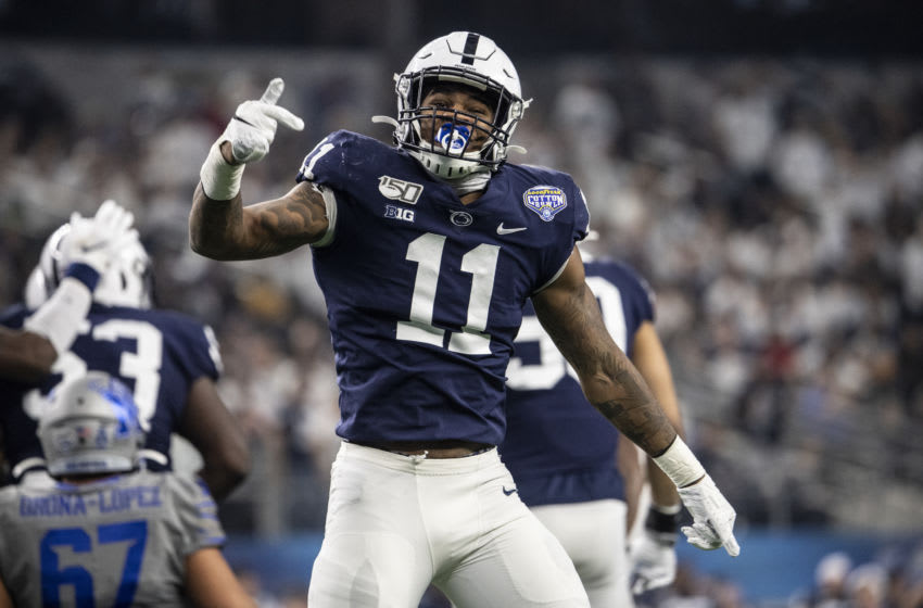 ARLINGTON, TEXAS - DECEMBER 28: Micah Parsons #11 of the Penn State Nittany Lions reacts during the Goodyear Cotton Bowl Classic at AT&T Stadium on December 28, 2019 in Arlington, Texas (Photo by Benjamin Solomon/Getty Images)