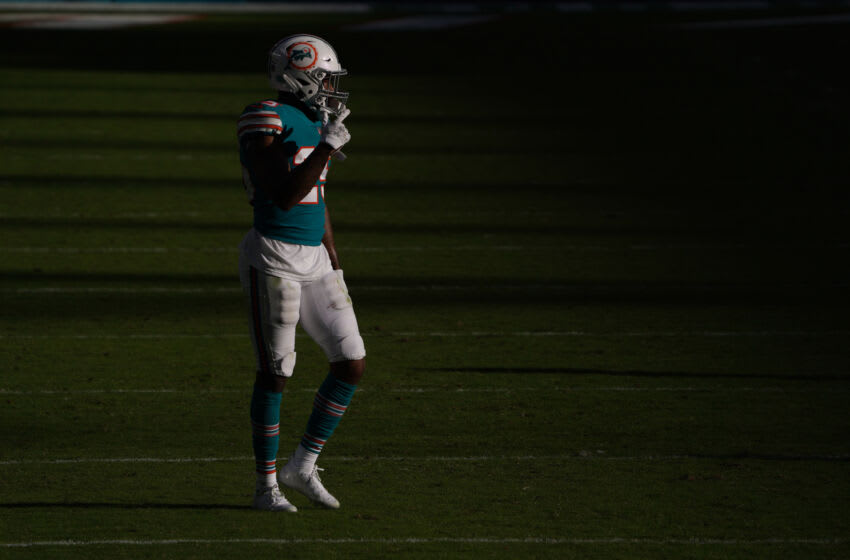 MIAMI GARDENS, FLORIDA - DECEMBER 20: Xavien Howard #25 of the Miami Dolphins looks on during the game against the New England Patriots at Hard Rock Stadium on December 20, 2020 in Miami Gardens, Florida. (Photo by Mark Brown/Getty Images)