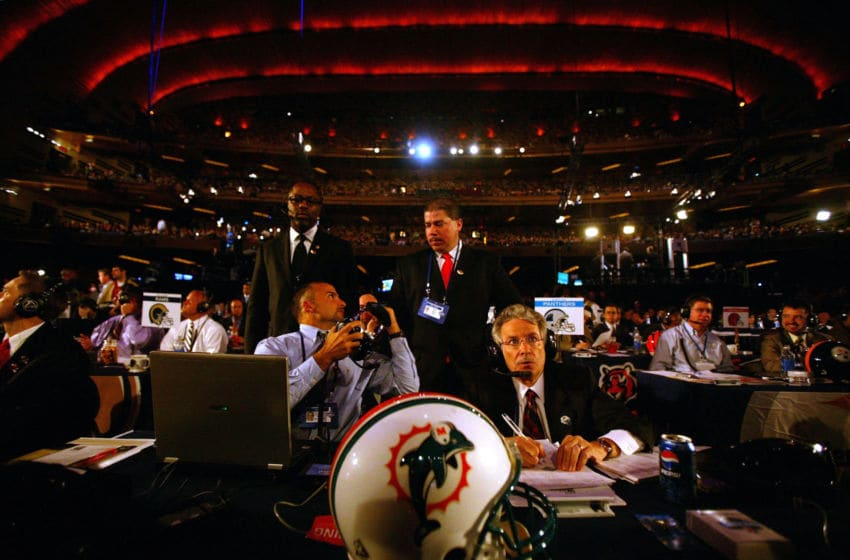 NEW YORK - APRIL 28: Reprensentatives of the Miami Dolphins make their draft selection during the 2007 NFL Draft on April 28, 2007 at Radio City Music Hall in New York, New York. The Dolphins drafted wide receiver Ted Ginn from Ohio State. (Photo by Chris McGrath/Getty Images)