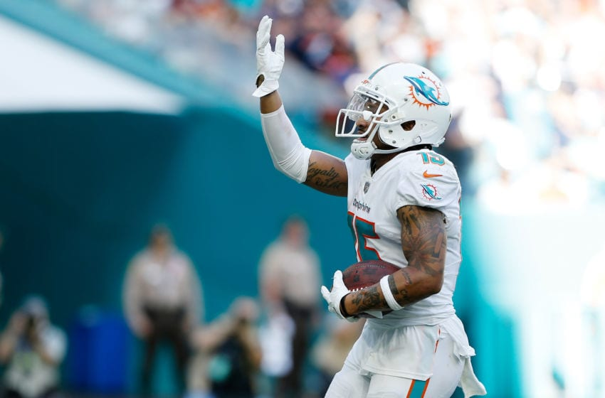 MIAMI, FL - OCTOBER 14: Albert Wilson #15 of the Miami Dolphins carries a pass for a touchdown in the fourth quarter against the Chicago Bears of the game at Hard Rock Stadium on October 14, 2018 in Miami, Florida. (Photo by Marc Serota/Getty Images)