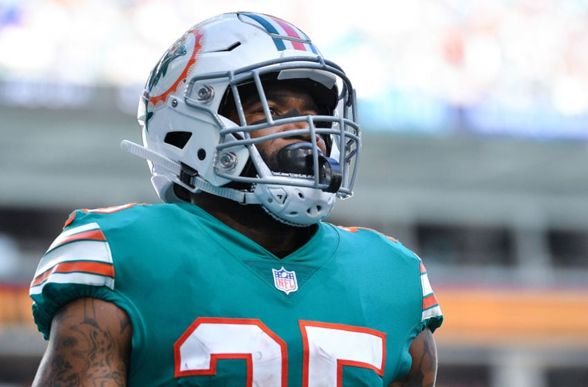 MIAMI, FL - DECEMBER 02: Xavien Howard #25 of the Miami Dolphins looks on during the third quarter against the Buffalo Bills at Hard Rock Stadium on December 2, 2018 in Miami, Florida. (Photo by Mark Brown/Getty Images)