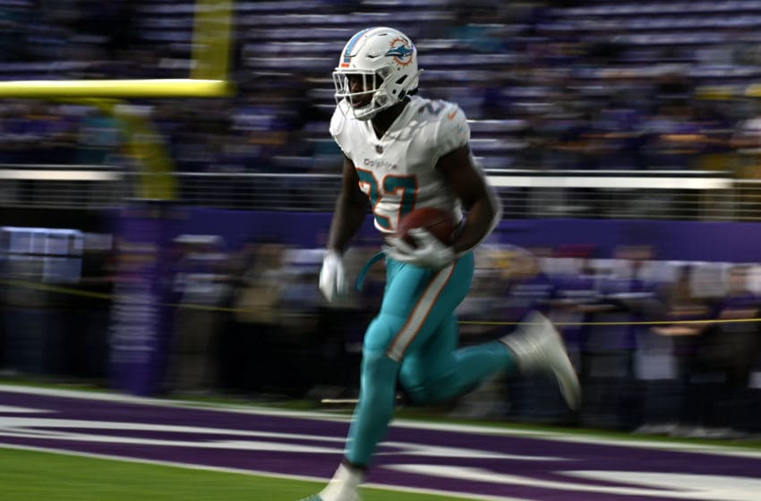 MINNEAPOLIS, MN - DECEMBER 16: Kalen Ballage #27 of the Miami Dolphins warms up before the game against the Minnesota Vikings at U.S. Bank Stadium on December 16, 2018 in Minneapolis, Minnesota. (Photo by Stephen Maturen/Getty Images)