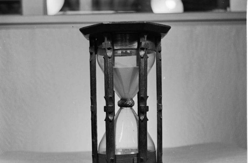 circa 1948: The Pulpit Glass was used to time a two hour sermon. (Photo by Orlando /Three Lions/Getty Images)