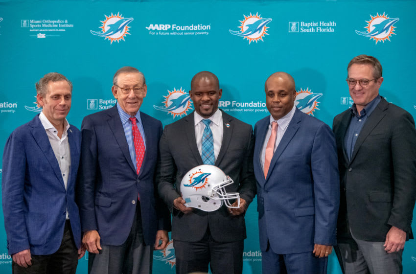 DAVIE, FL - FEBRUARY 04: (L-R) Bruce Beal Vice Chairman, Stephen Ross Chairman & Owner, Brian Flores Head Coach, Chris Grier General Manager, and Tom Garfinkel Vice Chairman and CEO of the Miami Dolphins, pose as the Miami Dolphins announce Brian Flores as their new Head Coach at Baptist Health Training Facility at Nova Southern University on February 4, 2019 in Davie, Florida. (Photo by Mark Brown/Getty Images)