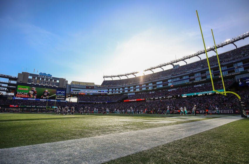 FOXBOROUGH, MA - DECEMBER 29: A general view of the stadium during a game between the New England Patriots and the Miami Dolphins at Gillette Stadium on December 29, 2019 in Foxborough, Massachusetts. (Photo by Adam Glanzman/Getty Images)