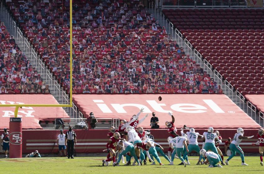 October 11, 2020; Santa Clara, California, USA; Miami Dolphins kicker Jason Sanders (7) kicks a field goal against the San Francisco 49ers during the second quarter at Levi's Stadium. Mandatory Credit: Kyle Terada-USA TODAY Sports