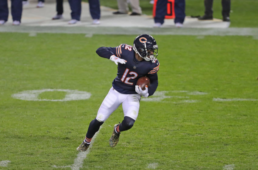 Nov 1, 2020; Chicago, Illinois, USA; Chicago Bears wide receiver Allen Robinson (12) runs with the ball during the second half at against the New Orleans Saints Soldier Field. Mandatory Credit: Dennis Wierzbicki-USA TODAY Sports