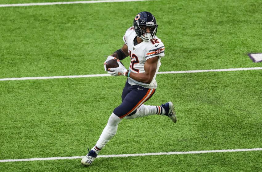 Dec 20, 2020; Minneapolis, Minnesota, USA; Chicago Bears wide receiver Allen Robinson (12) runs with the ball during the fourth quarter against the Minnesota Vikings at U.S. Bank Stadium. Mandatory Credit: Brace Hemmelgarn-USA TODAY Sports
