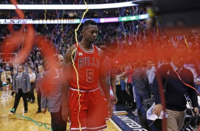 Feb 1, 2016; Salt Lake City, UT, USA; Chicago Bulls forward Bobby Portis (5) walks off the court after their 105-96 overtime loss to the Utah Jazz at Vivint Smart Home Arena. Mandatory Credit: Jeff Swinger-USA TODAY Sports