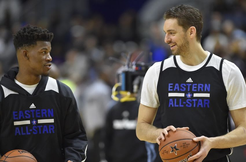 Feb 13, 2016; Toronto, Ontario, Canada; Eastern Conference guard Jimmy Butler of the Chicago Bulls (21) talks to Eastern Conference center Pau Gasol of Chicago Bulls (16) during practice for the NBA All Star game at Ricoh Coliseum. Mandatory Credit: Bob Donnan-USA TODAY Sports
