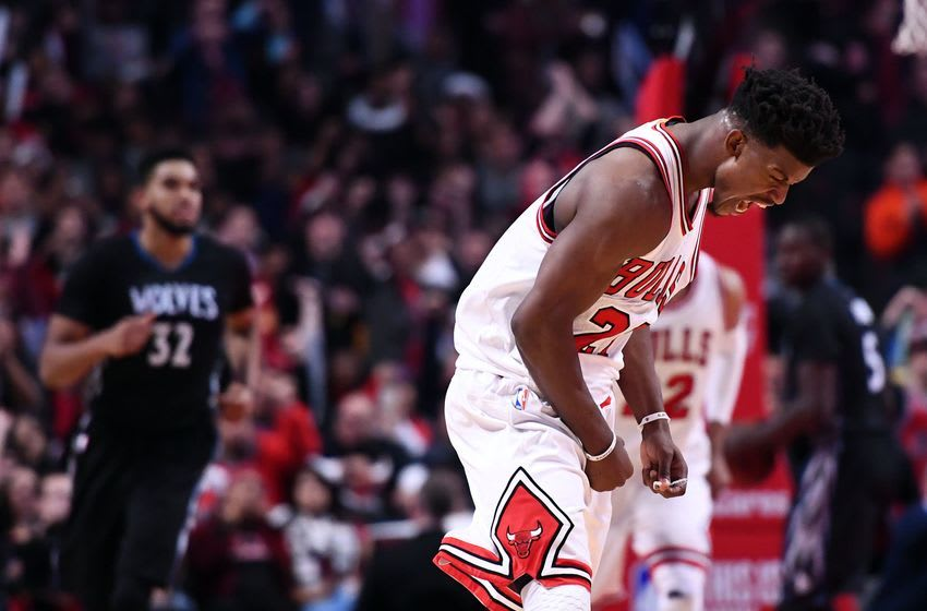Dec 13, 2016; Chicago, IL, USA; Chicago Bulls forward Jimmy Butler (21) reacts after making a basket against the Minnesota Timberwolves during the second half at the United Center. Minnesota defeats Chicago 99-94. Mandatory Credit: Mike DiNovo-USA TODAY Sports