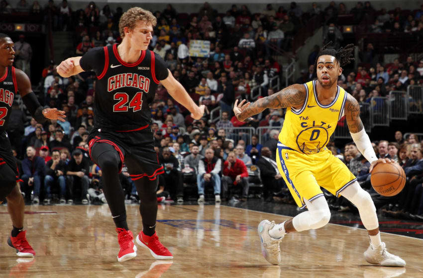 CHICAGO, IL - DECEMBER 6: D'Angelo Russell #0 of the Golden State Warriors handles the ball against the Chicago Bulls on December 6, 2019 at United Center in Chicago, Illinois. NOTE TO USER: User expressly acknowledges and agrees that, by downloading and or using this photograph, User is consenting to the terms and conditions of the Getty Images License Agreement. Mandatory Copyright Notice: Copyright 2019 NBAE (Photo by Jeff Haynes/NBAE via Getty Images)