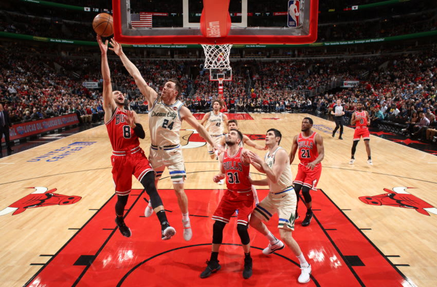CHICAGO, IL - DECEMBER 30: Zach LaVine #8 of the Chicago Bulls shoots the ball against the Milwaukee Bucks on December 30, 2019 at the United Center in Chicago, Illinois. NOTE TO USER: User expressly acknowledges and agrees that, by downloading and or using this photograph, user is consenting to the terms and conditions of the Getty Images License Agreement. Mandatory Copyright Notice: Copyright 2019 NBAE (Photo by Gary Dineen/NBAE via Getty Images)