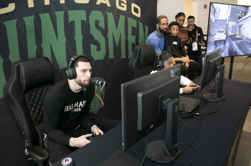 CHICAGO, ILLINOIS - FEBRUARY 13: Zach LaVine (L) attends the NRG Gaming Chicago Huntsmen Homecoming during NBA All Star Weekend on February 13, 2020 in Chicago, Illinois. (Photo by Jeff Schear/Getty Images for NRG Gaming)