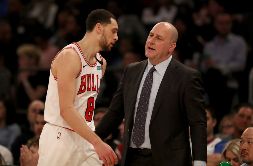 NEW YORK, NEW YORK - FEBRUARY 29: Head coach Jim Boylen of the Chicago Bulls talks with Zach LaVine #8 in the second half against the New York Knicks at Madison Square Garden on February 29, 2020 in New York City.The New York Knicks defeated the Chicago Bulls 125-115.NOTE TO USER: User expressly acknowledges and agrees that, by downloading and or using this photograph, User is consenting to the terms and conditions of the Getty Images License Agreement. (Photo by Elsa/Getty Images)