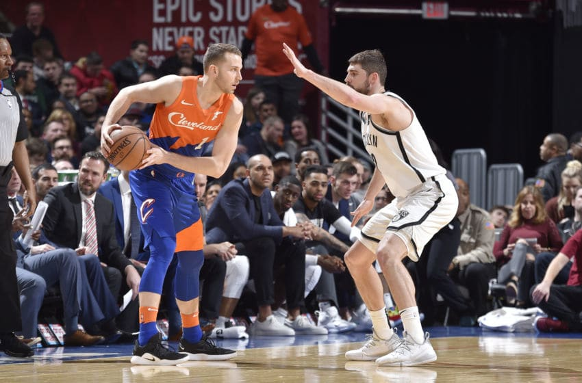 CLEVELAND, OH - FEBRUARY 13: Chicago Bulls Nik Stauskas #1 of the Cleveland Cavaliers handles the ball against Joe Harris #12 of the Brooklyn Nets on February 13, 2019 at Quicken Loans Arena in Cleveland, Ohio. NOTE TO USER: User expressly acknowledges and agrees that, by downloading and/or using this Photograph, user is consenting to the terms and conditions of the Getty Images License Agreement. Mandatory Copyright Notice: Copyright 2019 NBAE (Photo by David Liam Kyle/NBAE via Getty Images)