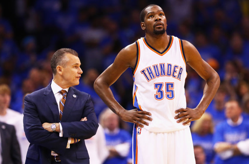 Billy Donovan, Kevin Durant (Photo by Maddie Meyer/Getty Images)