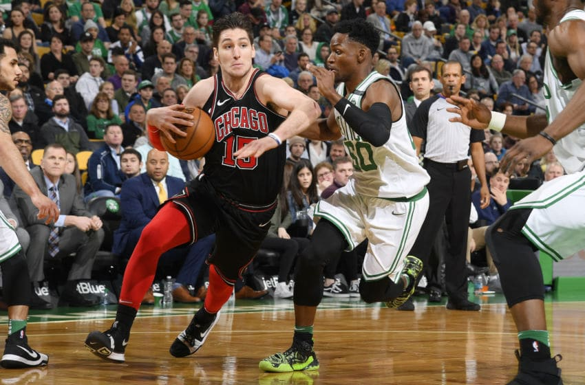 BOSTON, MA - APRIL 6: Ryan Arcidiacono #15 of the Chicago Bulls jocks for a position during the game against the Boston Celtics on April 6, 2018 at the TD Garden in Boston, Massachusetts. NOTE TO USER: User expressly acknowledges and agrees that, by downloading and or using this photograph, User is consenting to the terms and conditions of the Getty Images License Agreement. Mandatory Copyright Notice: Copyright 2018 NBAE (Photo by Brian Babineau/NBAE via Getty Images)