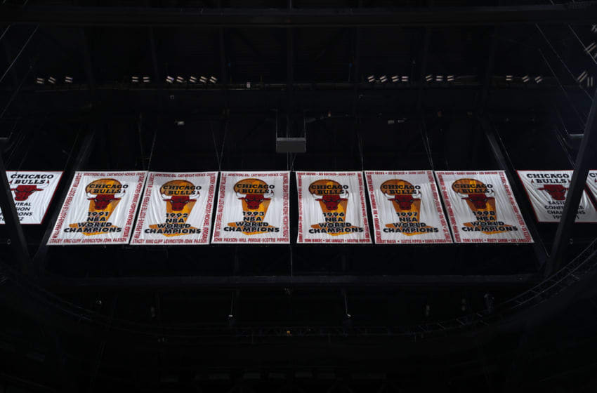CHICAGO, IL - JANUARY 25: Chicago Bulls Championship banners are seen in the rafters on January 25, 2019 at United Center in Chicago, Illinois.
