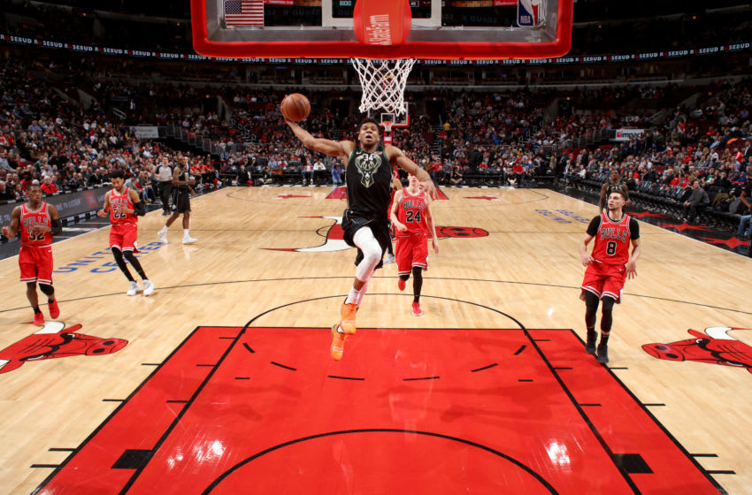 CHICAGO, IL - FEBRUARY 11: Giannis Antetokounmpo #34 of the Milwaukee Bucks dunks the ball during the game against the Chicago Bulls on February 11, 2019 at the United Center in Chicago, Illinois. NOTE TO USER: User expressly acknowledges and agrees that, by downloading and or using this photograph, user is consenting to the terms and conditions of the Getty Images License Agreement. Mandatory Copyright Notice: Copyright 2019 NBAE (Photo by Gary Dineen/NBAE via Getty Images)