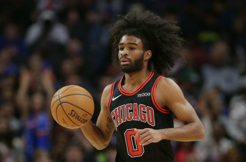 DETROIT, MI - DECEMBER 21: Coby White #0 of the Chicago Bulls during the first half of a game against the Detroit Pistons at Little Caesars Arena on December 21, 2019, in Detroit, Michigan. NOTE TO USER: User expressly acknowledges and agrees that, by downloading and or using this photograph, User is consenting to the terms and conditions of the Getty Images License Agreement. (Photo by Duane Burleson/Getty Images)