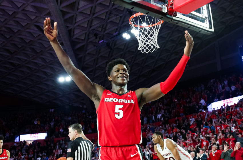 ATHENS, GA - FEBRUARY 19: Anthony Edwards #5 of the Georgia Bulldogs gestures to the crowd in the final minutes of a game against the Auburn Tigers at Stegeman Coliseum on February 19, 2020 in Athens, Georgia. (Photo by Carmen Mandato/Getty Images)