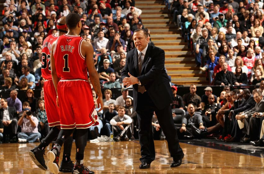 SACRAMENTO, CA - DECEMBER 29: Head coach Tom Thibodeau of the Chicago Bulls speaks to Derrick Rose #1 and Richard Hamilton #32 during their game against the Sacramento Kings at Power Balance Pavilion on December 29, 2011 in Sacramento, California. NOTE TO USER: User expressly acknowledges and agrees that, by downloading and or using this photograph, User is consenting to the terms and conditions of the Getty Images License Agreement. (Photo by Ezra Shaw/Getty Images)