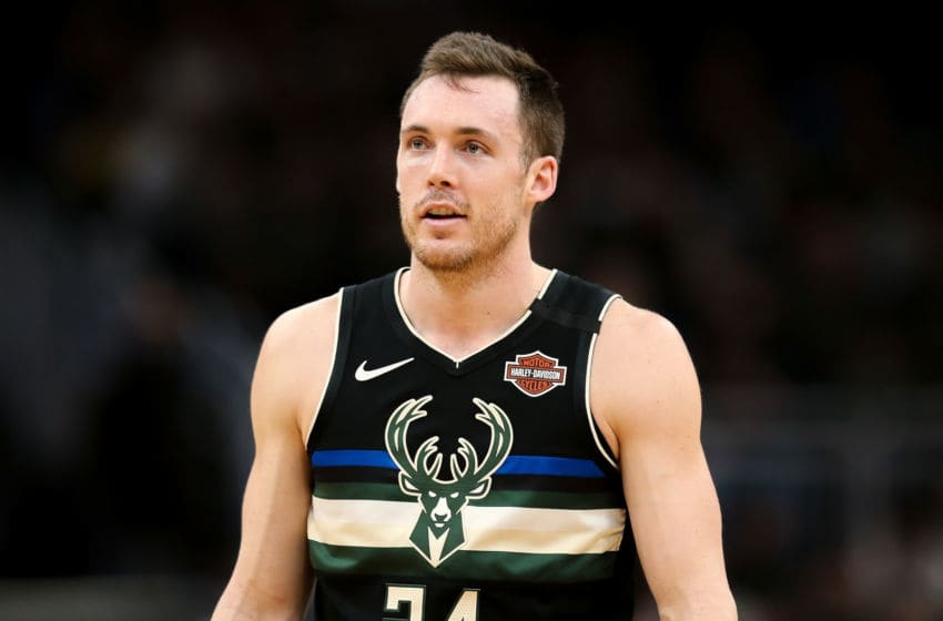 MILWAUKEE, WISCONSIN - FEBRUARY 28: Pat Connaughton #24 of the Milwaukee Bucks looks on in the second quarter against the Oklahoma City Thunder at the Fiserv Forum on February 28, 2020 in Milwaukee, Wisconsin. NOTE TO USER: User expressly acknowledges and agrees that, by downloading and or using this photograph, User is consenting to the terms and conditions of the Getty Images License Agreement. (Photo by Dylan Buell/Getty Images)
