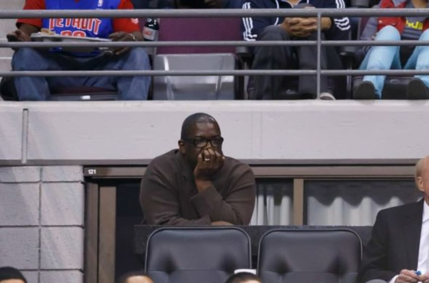 Mar 15, 2014; Auburn Hills, MI, USA; Detroit Pistons general manager Joe Dumars during the game against the Indiana Pacers at The Palace of Auburn Hills. Mandatory Credit: Rick Osentoski-USA TODAY Sports