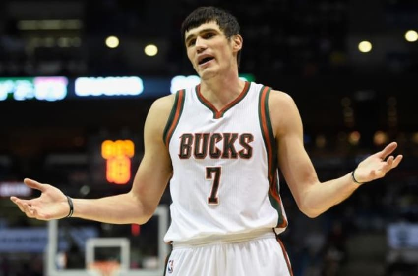 Mar 18, 2015; Milwaukee, WI, USA; Milwaukee Bucks forward Ersan Ilyasova (7) reacts after getting called for a foul in the third quarter during the game against the San Antonio Spurs at BMO Harris Bradley Center. The Spurs beat the Bucks 114-103. Mandatory Credit: Benny Sieu-USA TODAY Sports