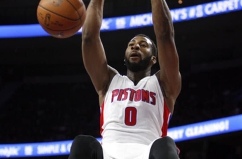 Apr 4, 2015; Auburn Hills, MI, USA; Detroit Pistons center Andre Drummond (0) makes a dunk during the fourth quarter against the Miami Heat at The Palace of Auburn Hills. Pistons beat the Heat 99-98. Mandatory Credit: Raj Mehta-USA TODAY Sports