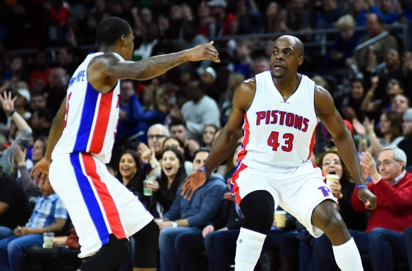 Mar 19, 2016; Auburn Hills, MI, USA; Detroit Pistons forward Anthony Tolliver (43) and guard Kentavious Caldwell-Pope (5) celebrate during the fourth quarter against the Brooklyn Nets at The Palace of Auburn Hills. Mandatory Credit: Tim Fuller-USA TODAY Sports