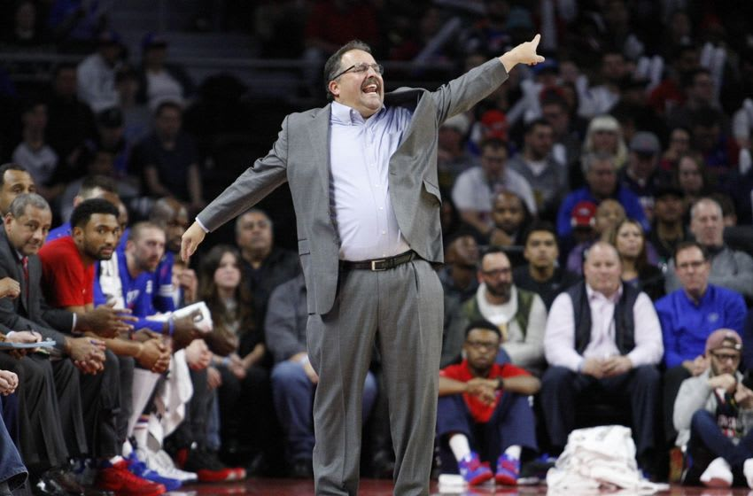 Jan 4, 2016; Auburn Hills, MI, USA; Detroit Pistons head coach Stan Van Gundy watches game action during the third quarter against the Orlando Magic at The Palace of Auburn Hills. Pistons win 115-89. Mandatory Credit: Raj Mehta-USA TODAY Sports