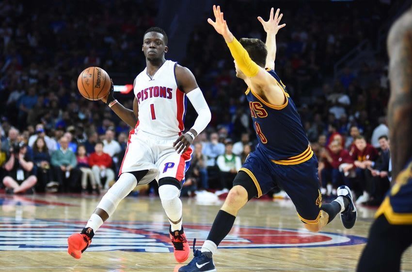 Apr 22, 2016; Auburn Hills, MI, USA; Detroit Pistons guard Reggie Jackson (1) passes as Cleveland Cavaliers guard Matthew Dellavedova (8) defends during the second quarter in game three of the first round of the NBA Playoffs at The Palace of Auburn Hills. Mandatory Credit: Tim Fuller-USA TODAY Sports